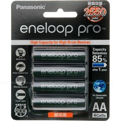 Panasonic Eneloop Pro 4x AA NiMH 2450mAh Pre-Charged Rechargeable Battery Pack